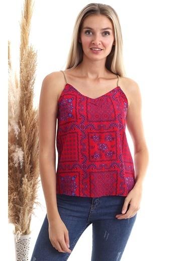 Cottonmood 20343107 Dok.Viskon Desenli Hasır Ipli Kolsuz Bluz Kirmizi Geometrik Kilim Kırmızı